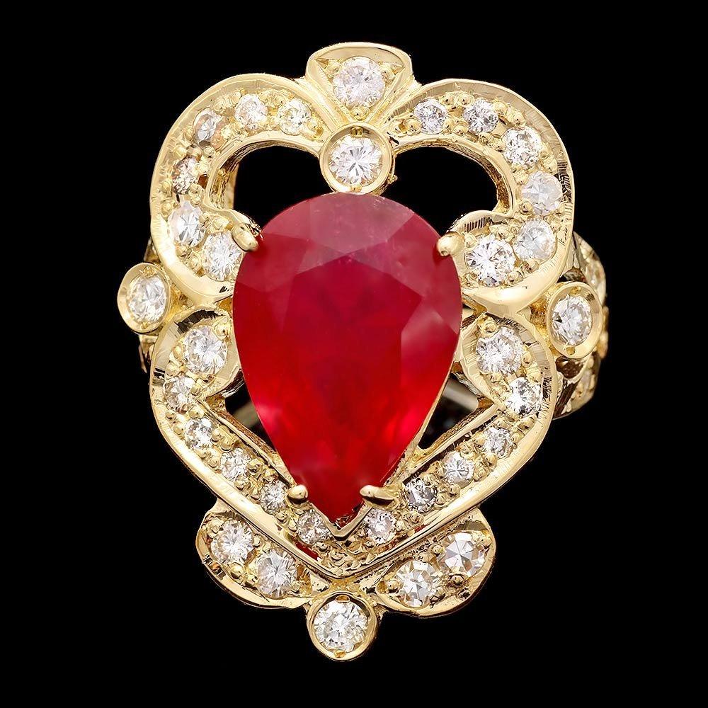14k Yellow Gold 7.50ct Ruby 0.95ct Diamond Ring