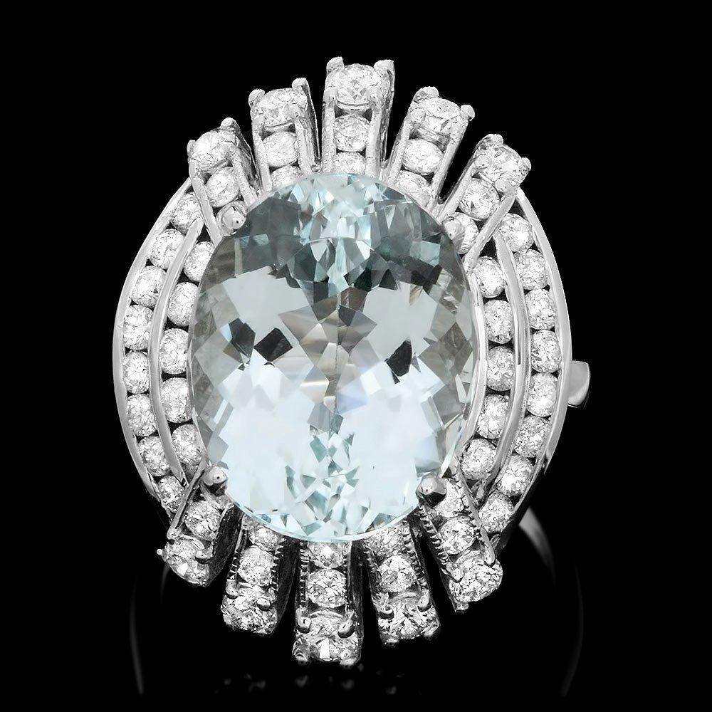 14k Gold 8.50ct Aquamarine 2ct Diamond Ring