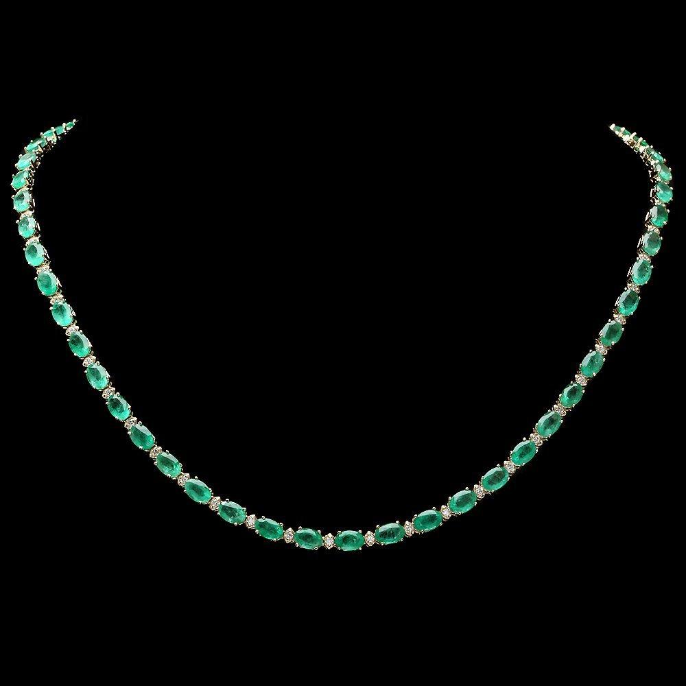 14k Gold 25ct Emerald 1ct Diamond Necklace