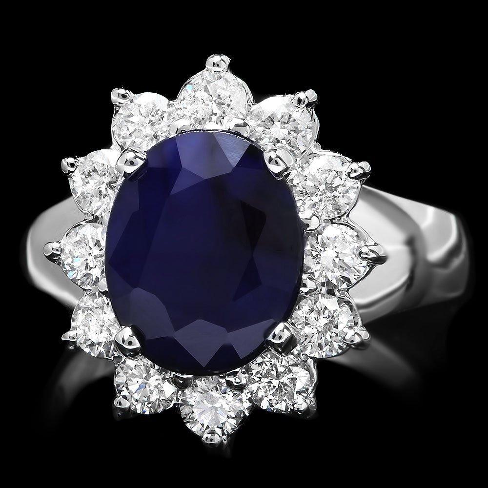 14k Gold 3.50ct Sapphire 1ct Diamond Ring