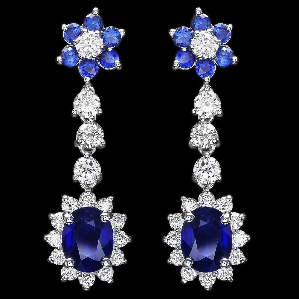 14k Gold 3.15ct Sapphire 2ct Diamond Earrings
