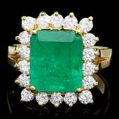 18k Gold 3.70ct Emerald 1ct Diamond Ring