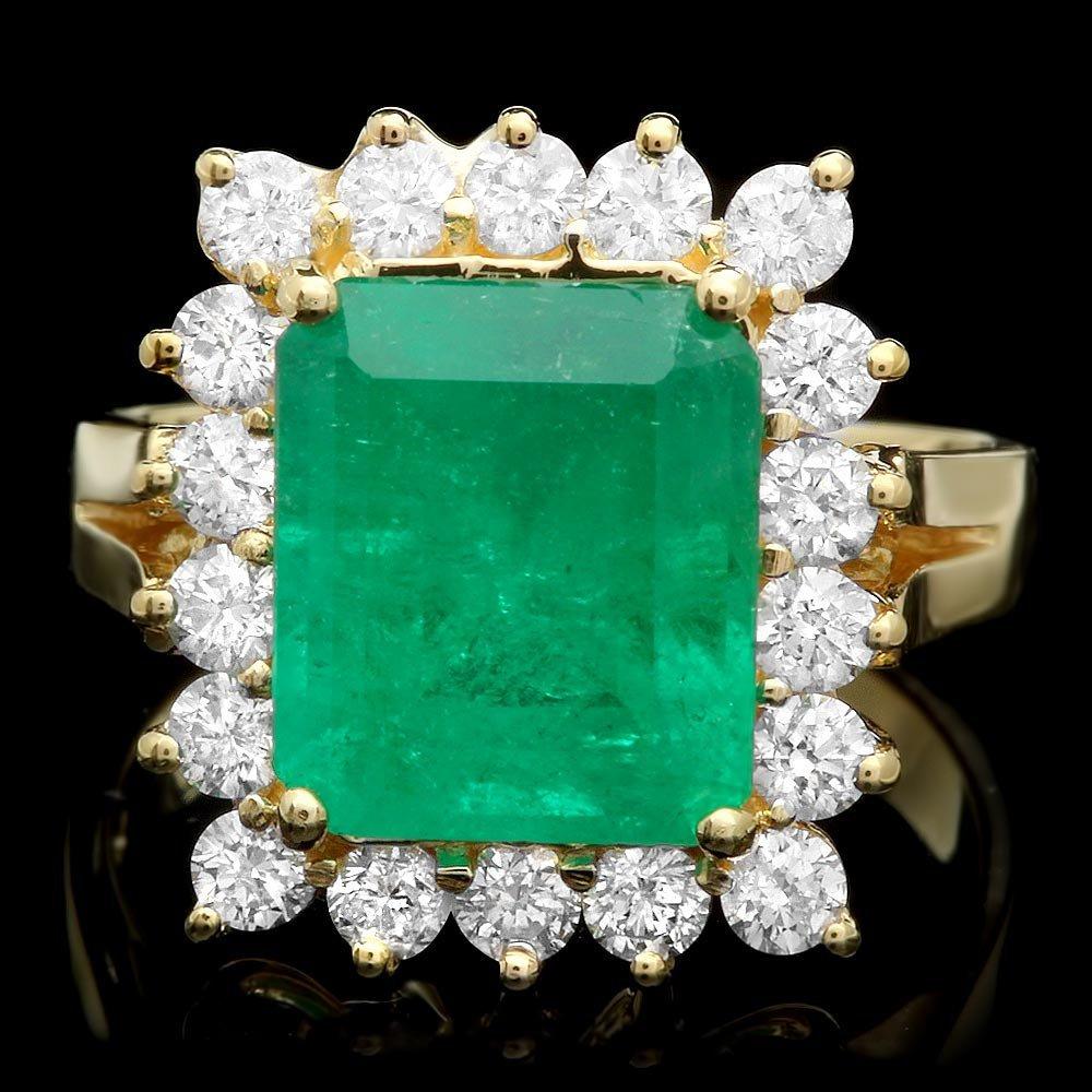 18k Gold 3.70ct Emerald 1ct Diamond Ring