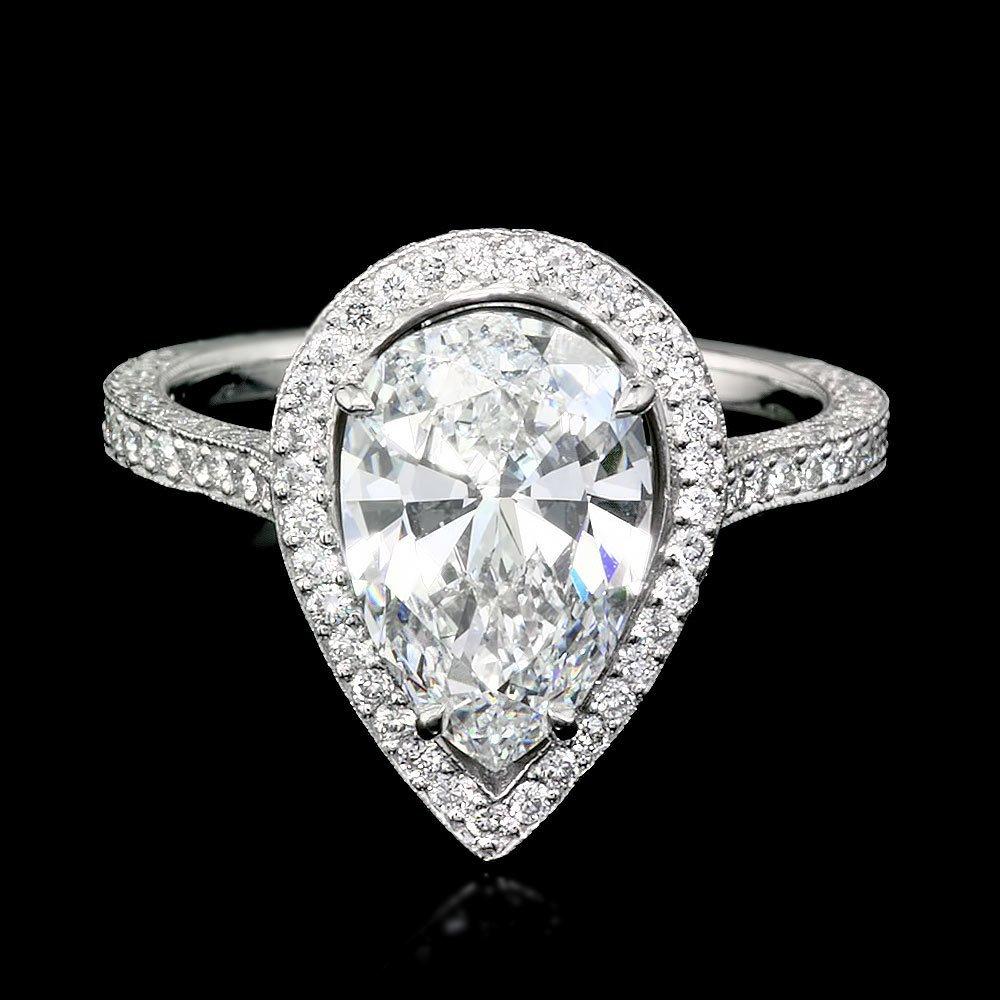 Platinum 3ctw Natural F VS Diamond Pave Ring
