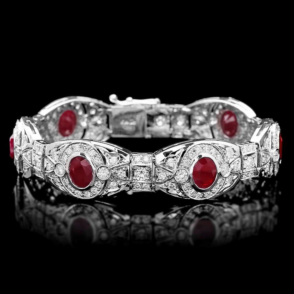 14k Gold 10.80ct Ruby 6.90ct Diamond Bracelet