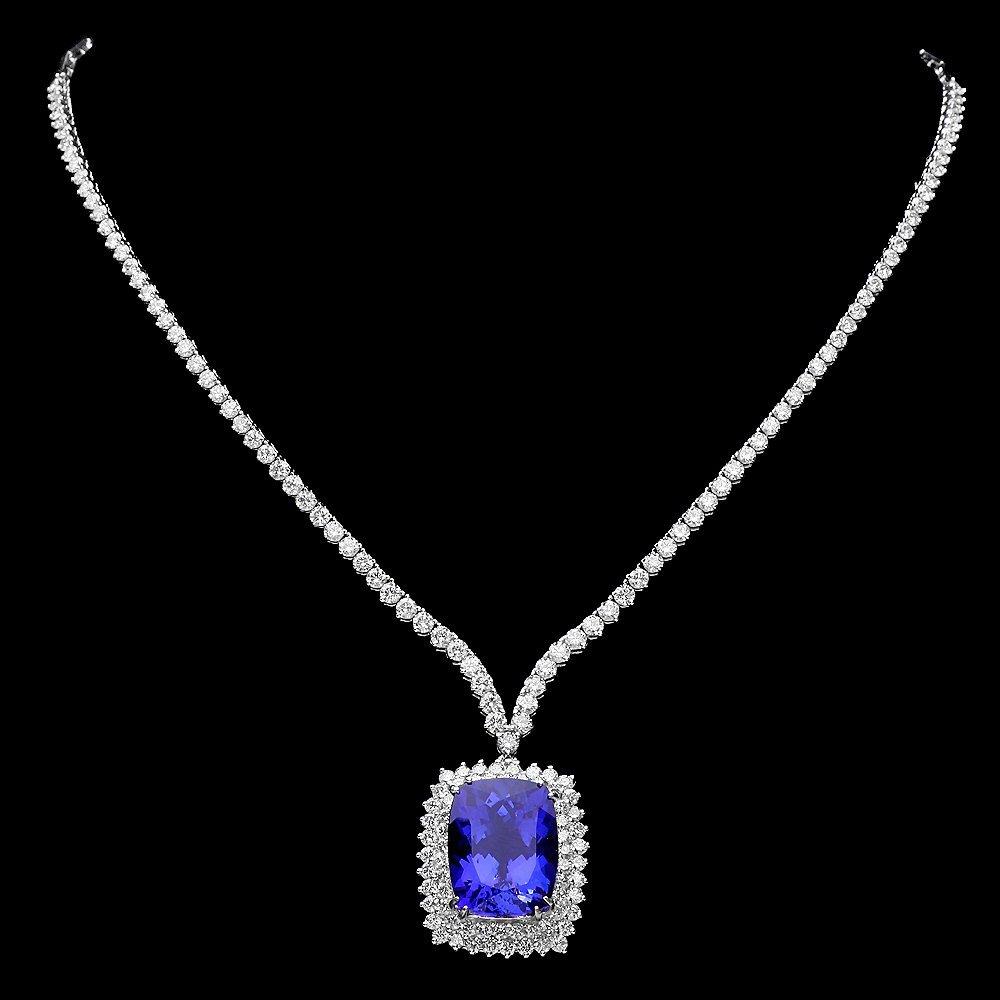 18k Gold 17ct Tanzanite 7.35ct Diamond Necklace
