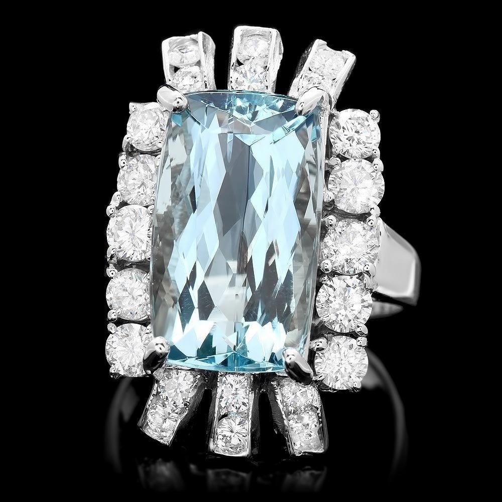 14k Gold 9ct Aquamarine 2ct Diamond Ring