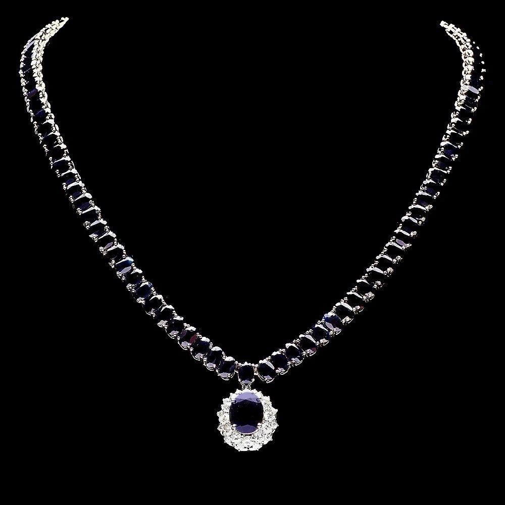 14k Gold 63ct Sapphire 1.40ct Diamond Necklace