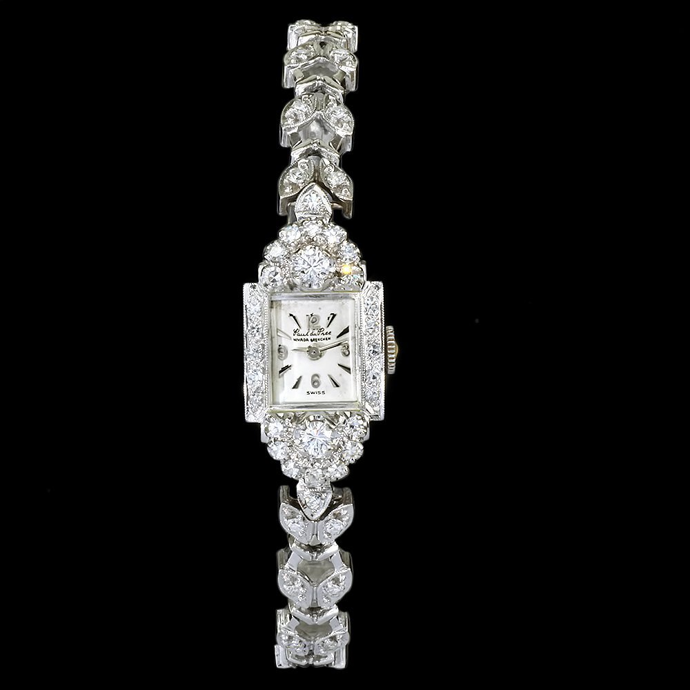 Paul Du Pree 14k White Gold 1.50ct Diamond Watch - 9