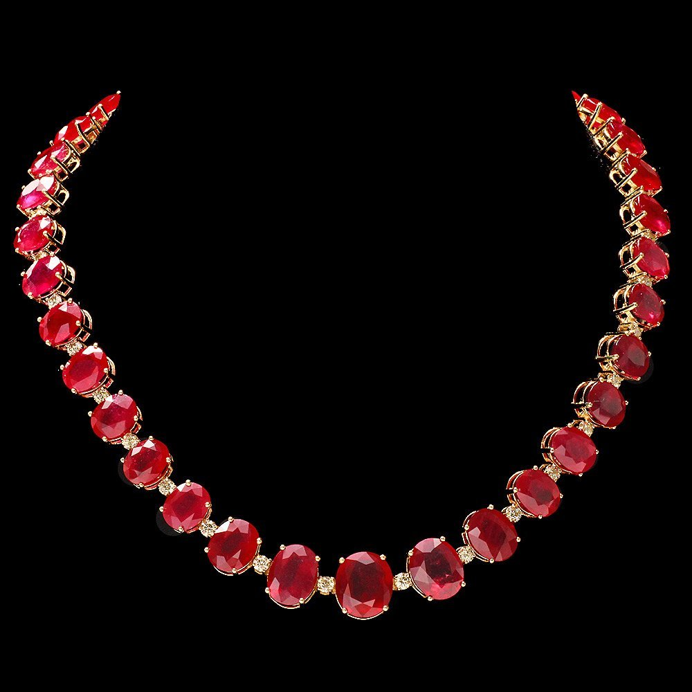 14k Gold 137ct Ruby 4ct Diamond Necklace