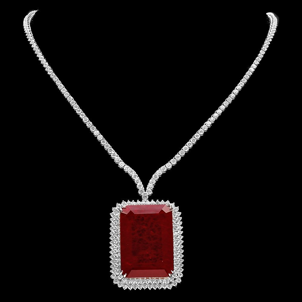 18k Gold 108ct Ruby 12ct Diamond Necklace