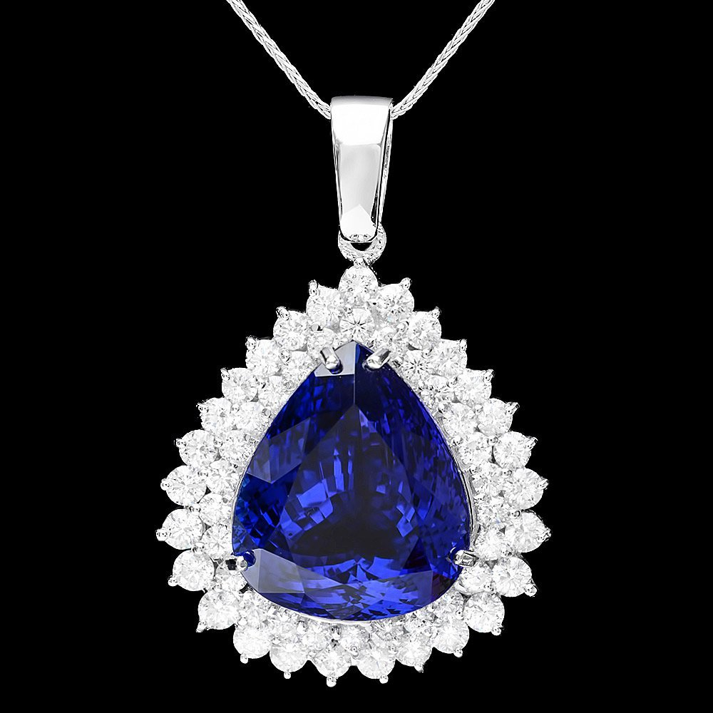 14k Gold 22ct Tanzanite 2.70ct Diamond Pendant