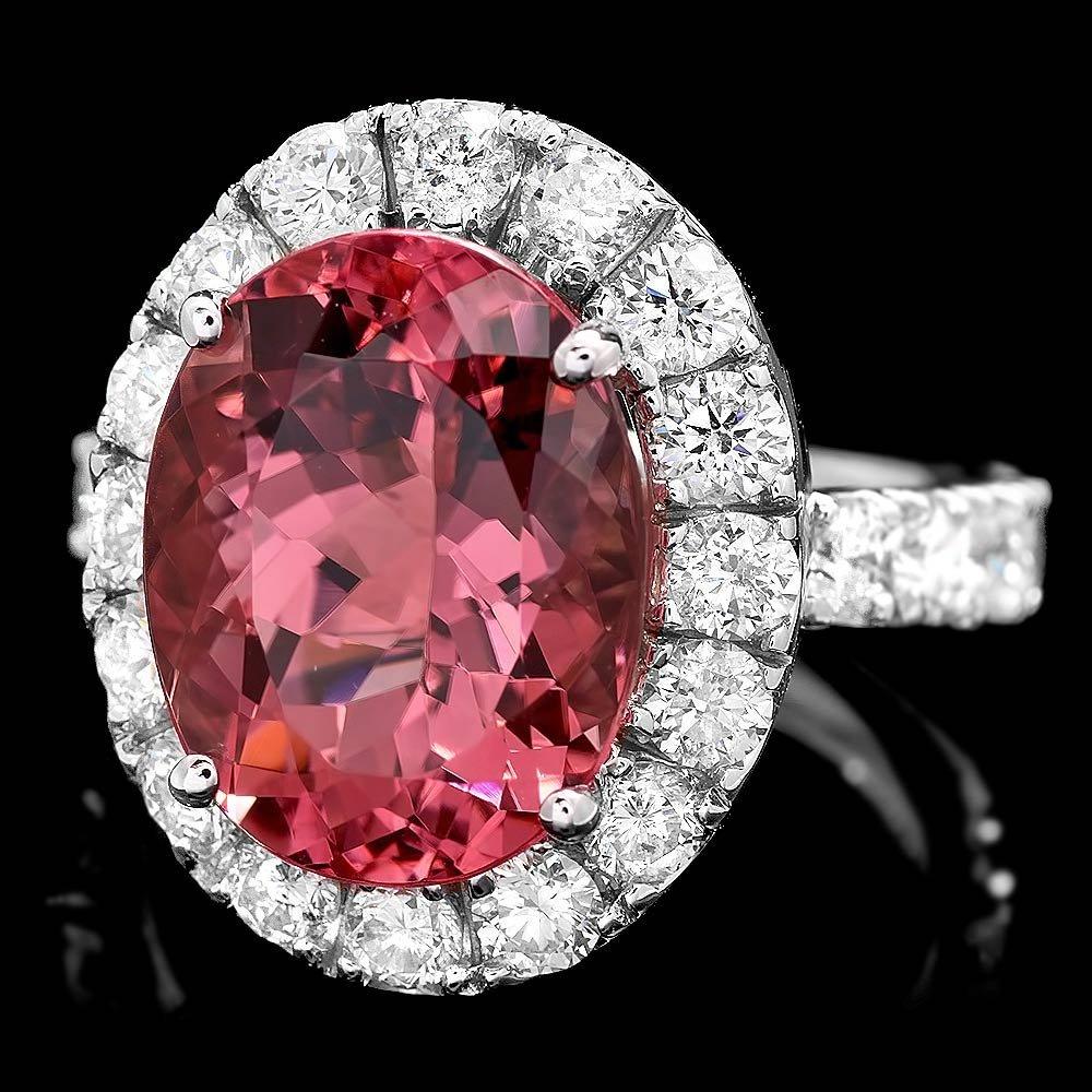 14k Gold 6ct Tourmaline 2ct Diamond Ring