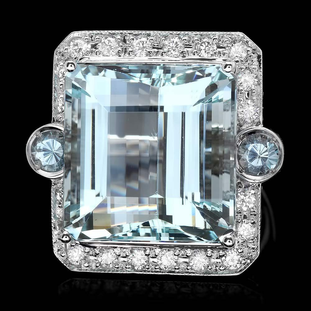 14k Gold 27.7ct Aquamarine 1.15ct Diamond Ring