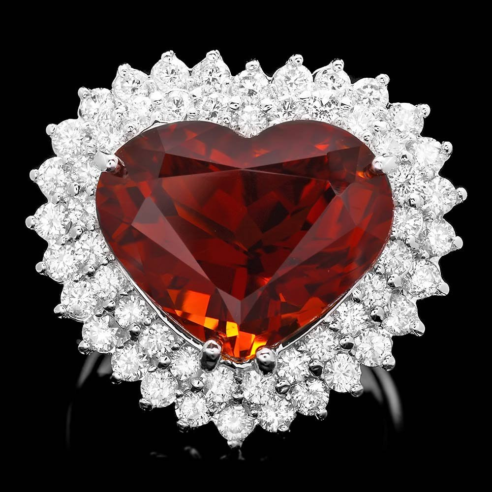 14k White Gold 11.00ct Zircon 2.00ct Diamond Ring