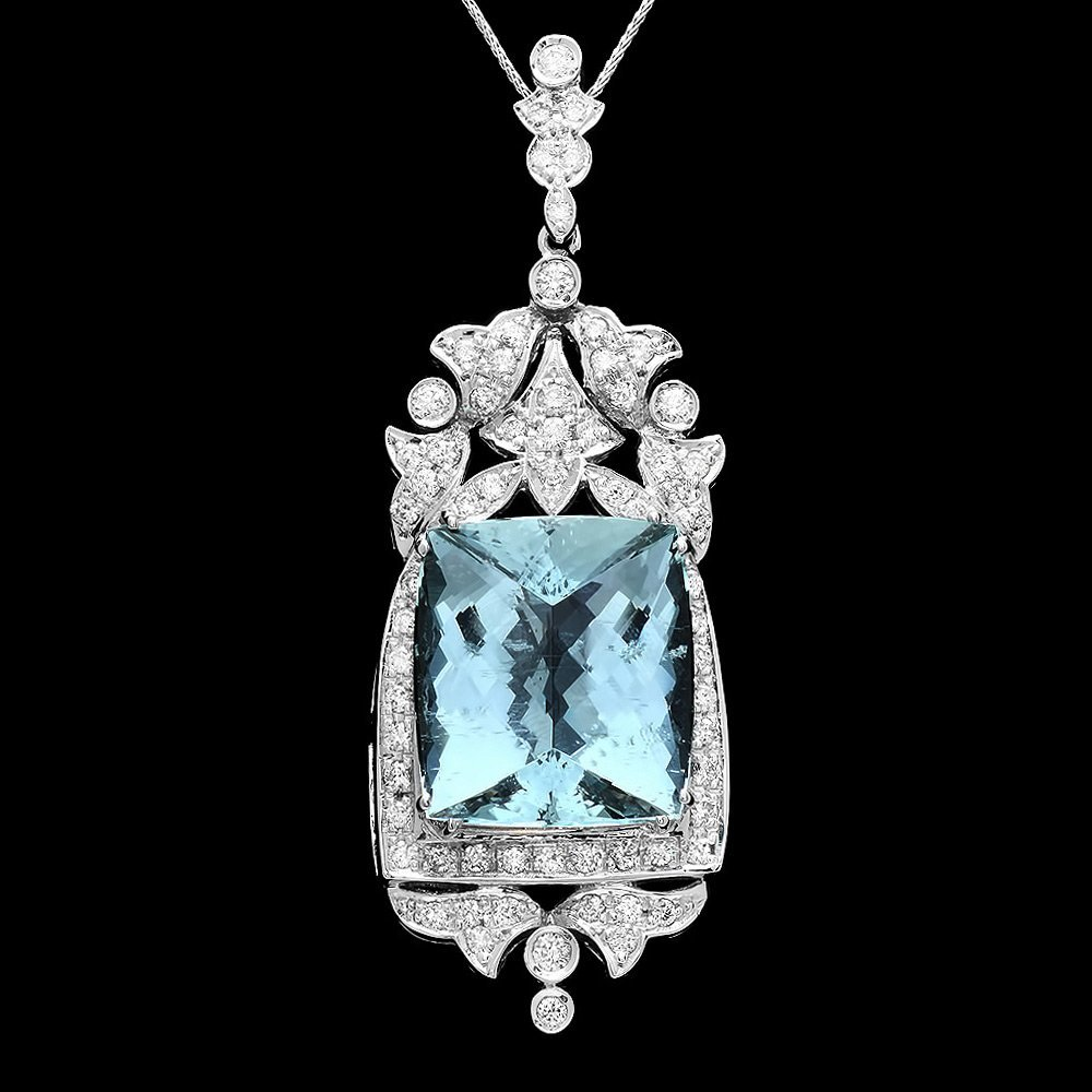 14k Gold 30ct Aquamarine 2.4ct Diamond Pendant