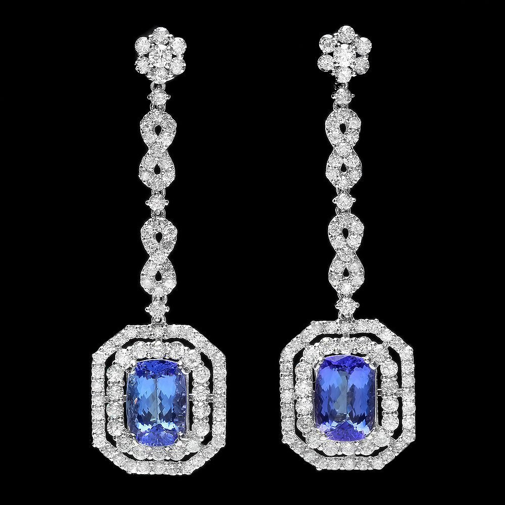 18k Gold 6ct Tanzanite 4ct Diamond Earrings