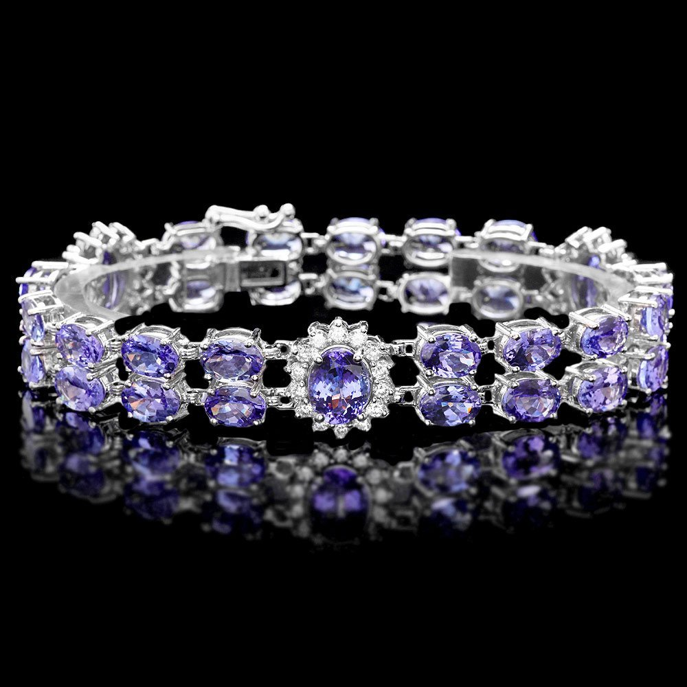 14k W Gold 29ct Tanzanite 1.40ct Diamond Bracelet