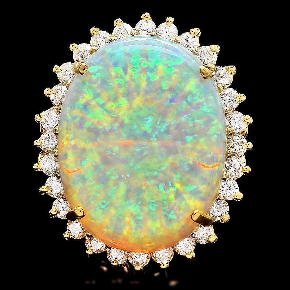 14k Yellow Gold 13.00ct Opal 1.15ct Diamond Ring