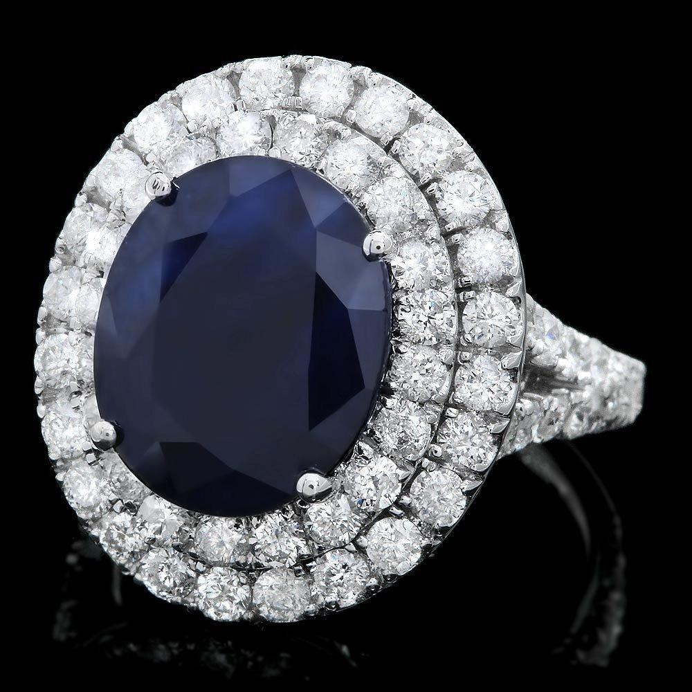 14k Gold 7ct Sapphire 2.20ct Diamond Ring