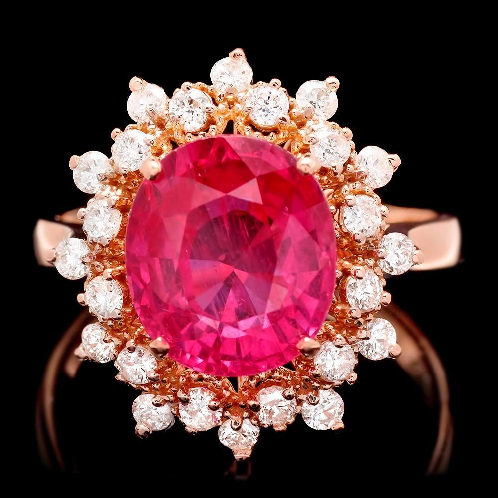 14k Rose Gold 4.55ct Ruby 0.65ct Diamond Ring