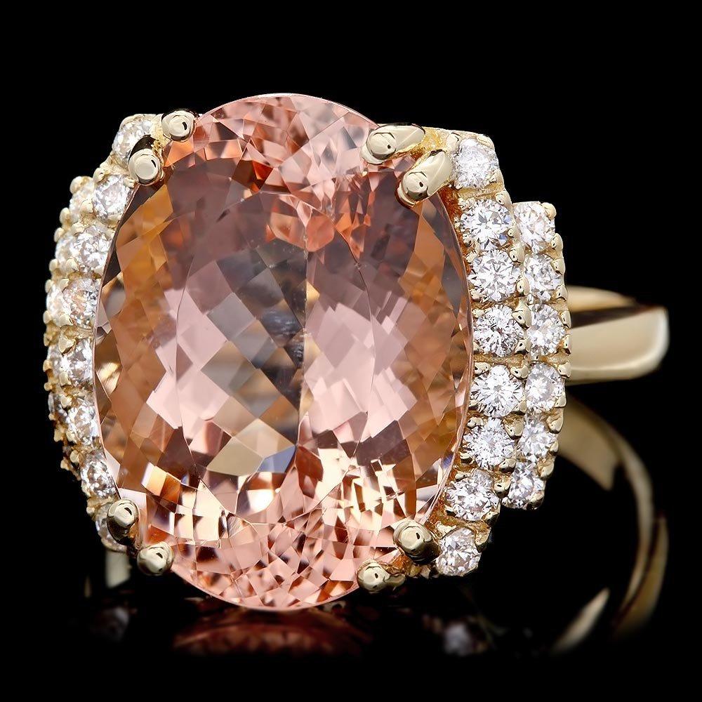 14k Gold 12ct Morganite 0.60ct Diamond Ring