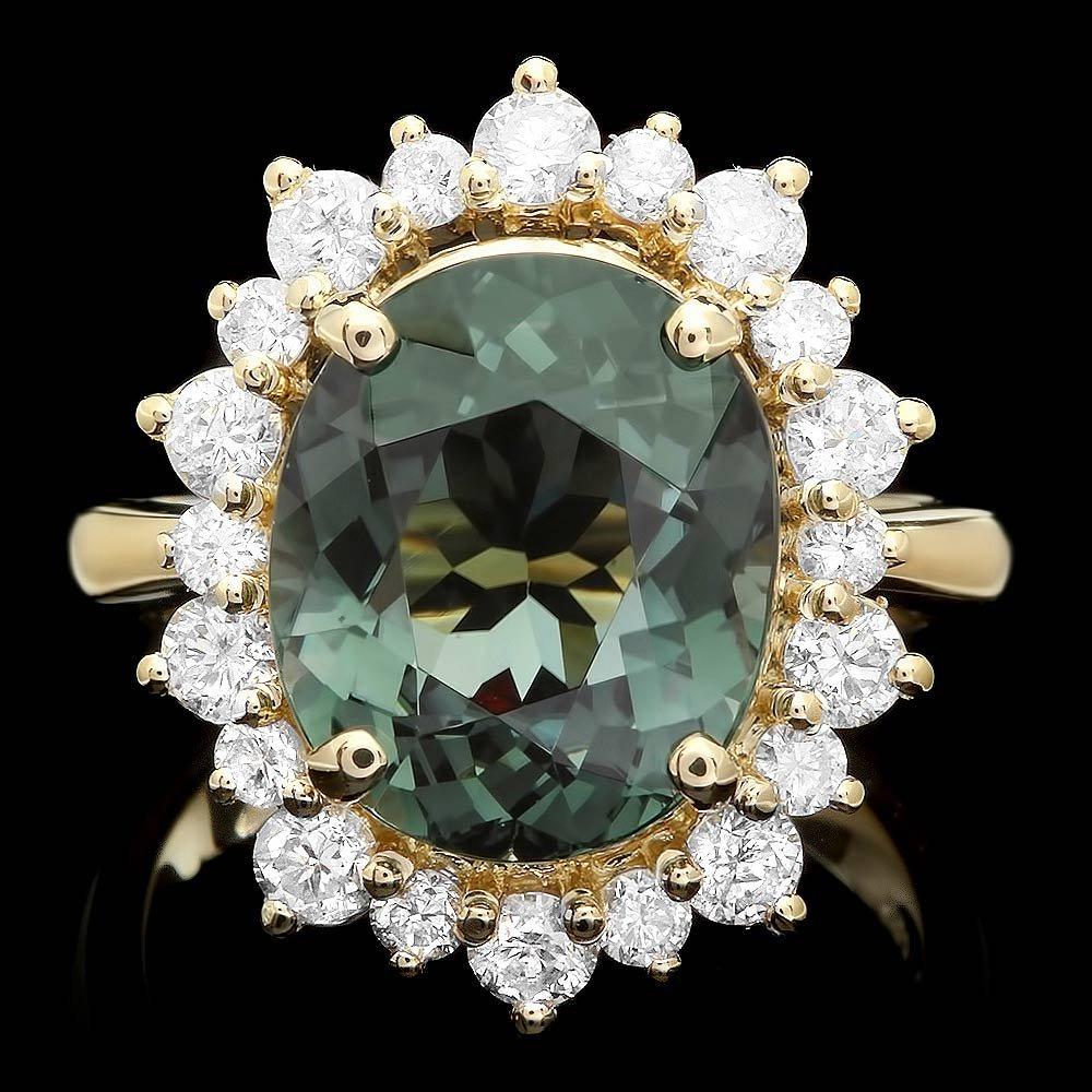 14k Gold 6.5ct Tourmaline 1.35ct Diamond Ring