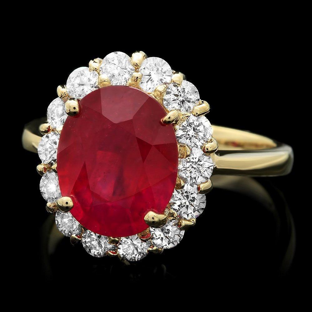 14k Yellow Gold 4.50ct Ruby 1.00ct Diamond Ring