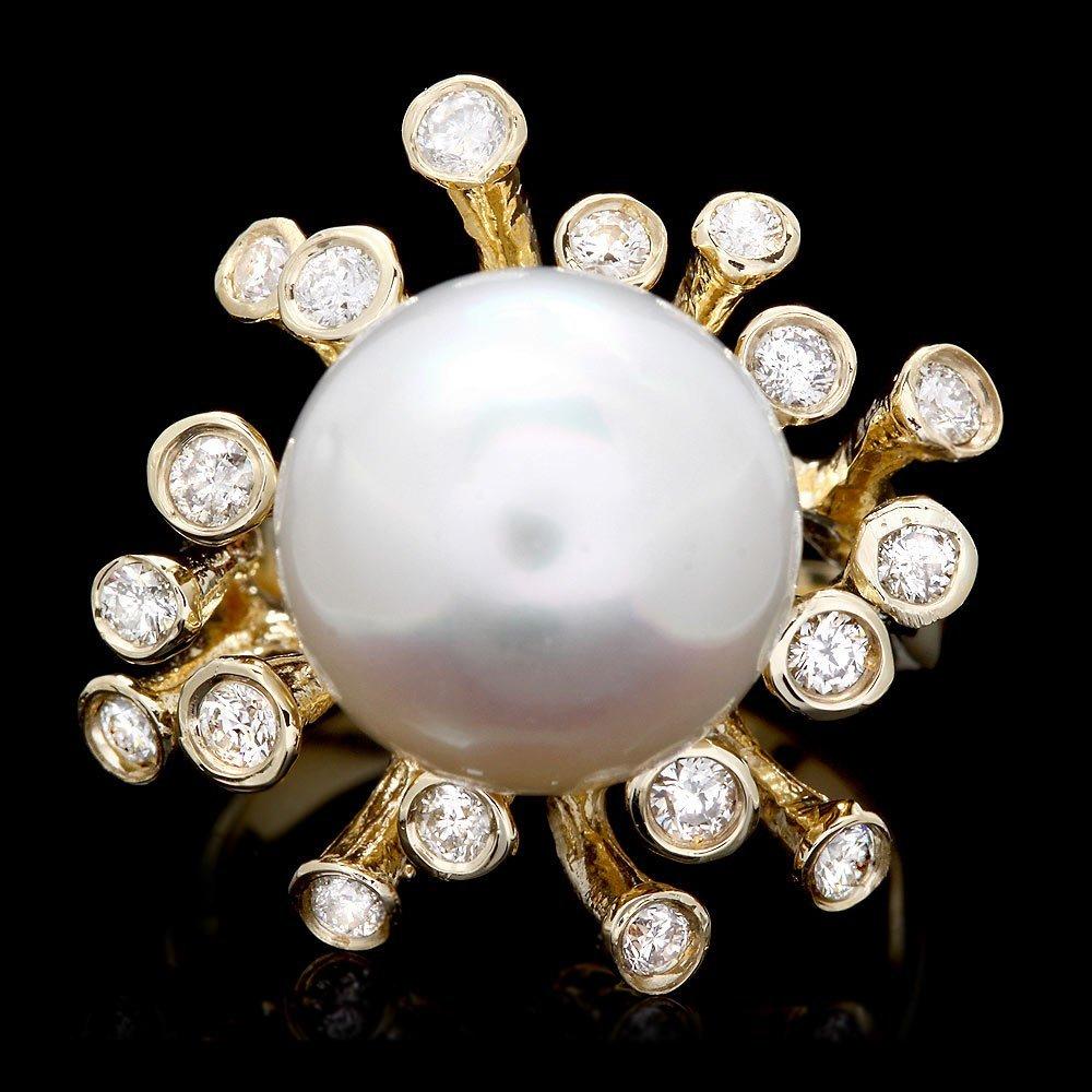 14k Yellow Gold 13mm Pearl 0.75ct Diamond Ring