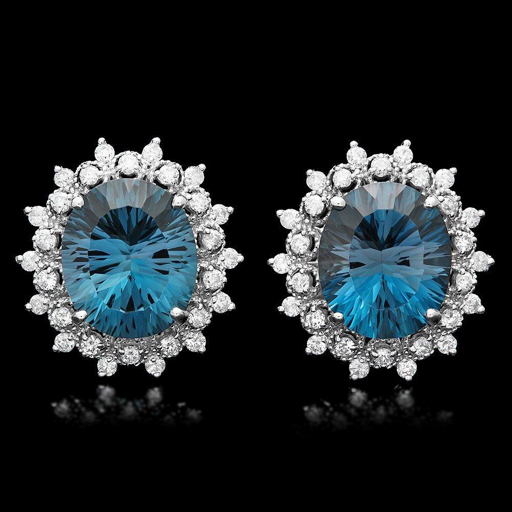 14k Gold 17ct Topaz 1.50ct Diamond Earrings
