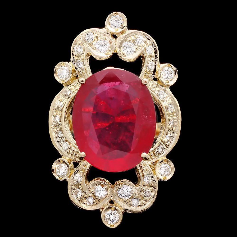 14k Yellow Gold 8.00ct Ruby 0.80ct Diamond Ring