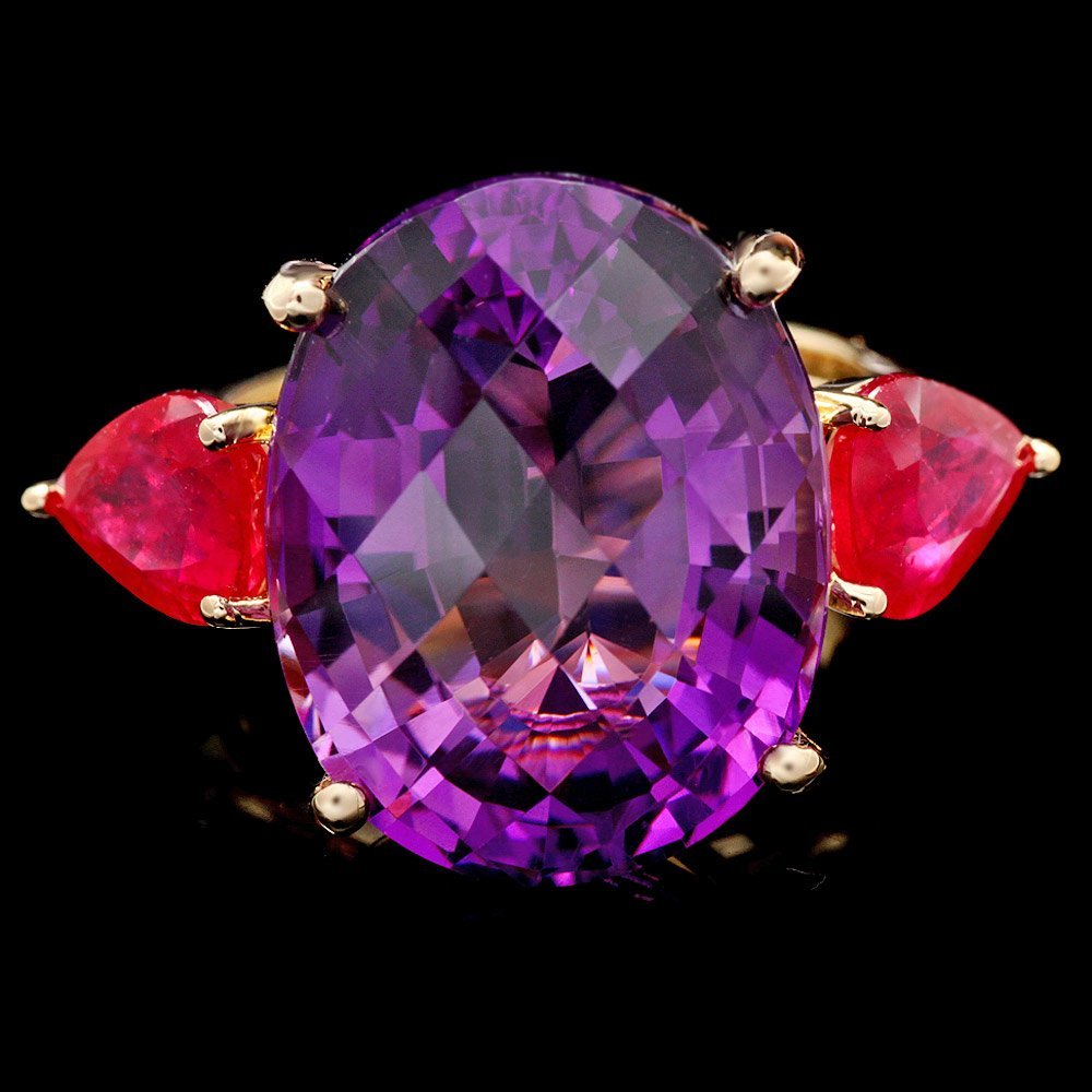 14k Yellow Gold 14.85ct Amethyst 3.00ct Ruby Ring