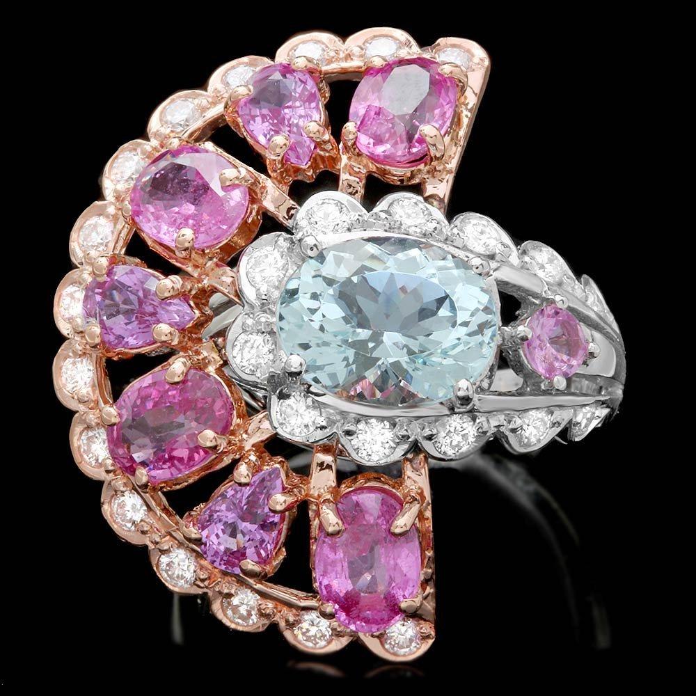 14k Gold 3ct Aquamarine Sapphire 1ct Diamond Ring