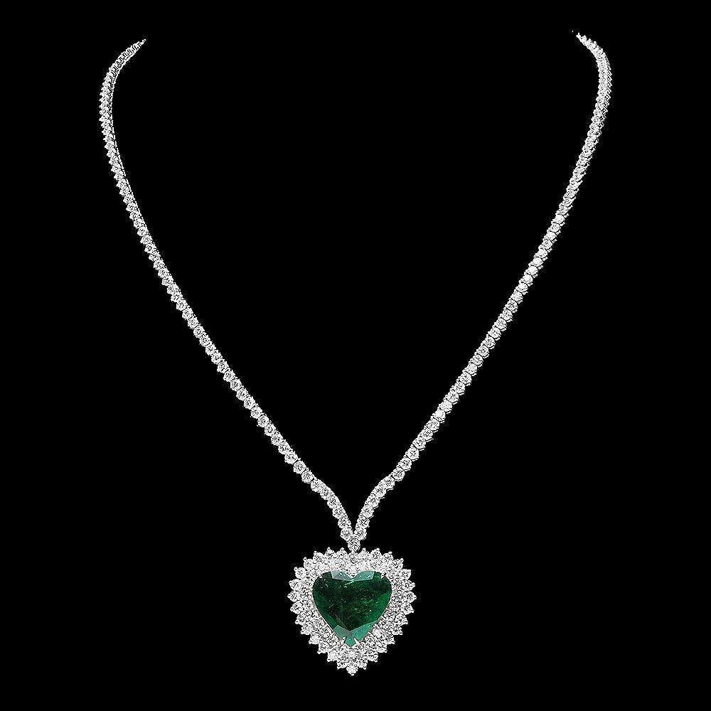 18k Gold 7ct Emerald 11.5ct Diamond Heart Pendant