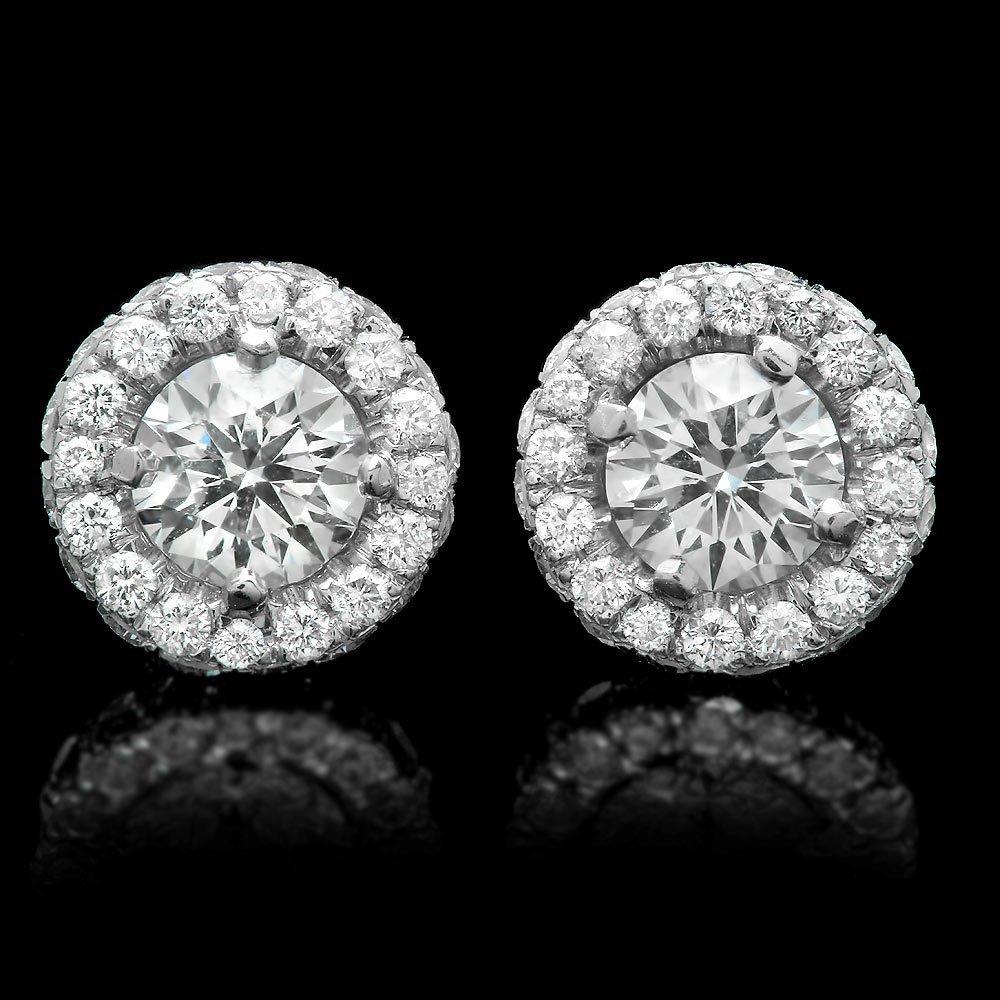 14k White Gold 1.85ct Diamond Earrings
