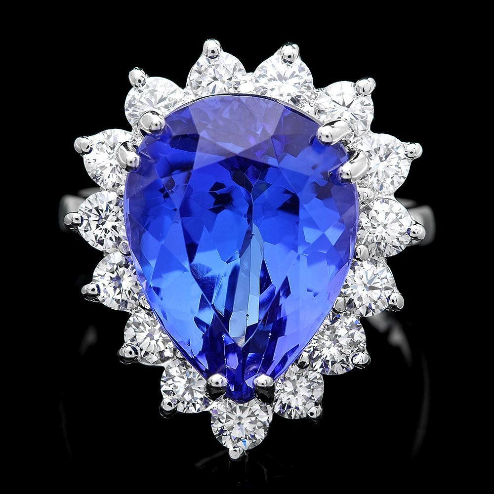 18k Gold 9ct Tanzanite 1.35ct Diamond Ring