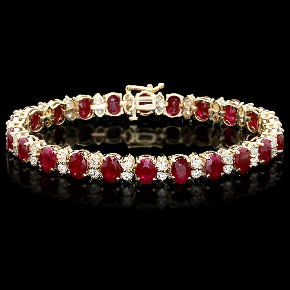 14k Gold 24.50ct Ruby 3.80ct Diamond Bracelet