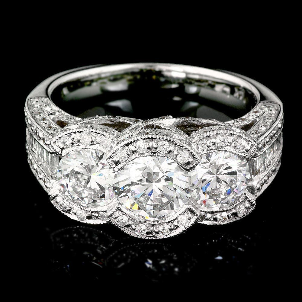 14k White Gold 2.2ct Diamond Pave Engagement Ring