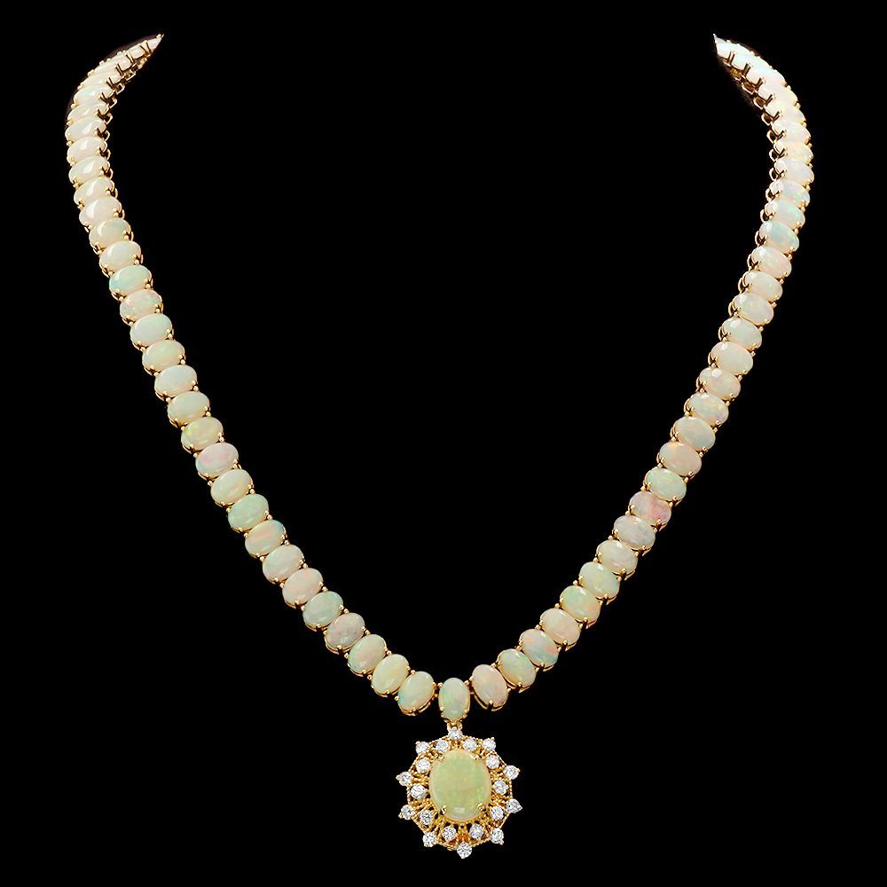 14k Yellow Gold 36ct Opal 1.00ct Diamond Necklace