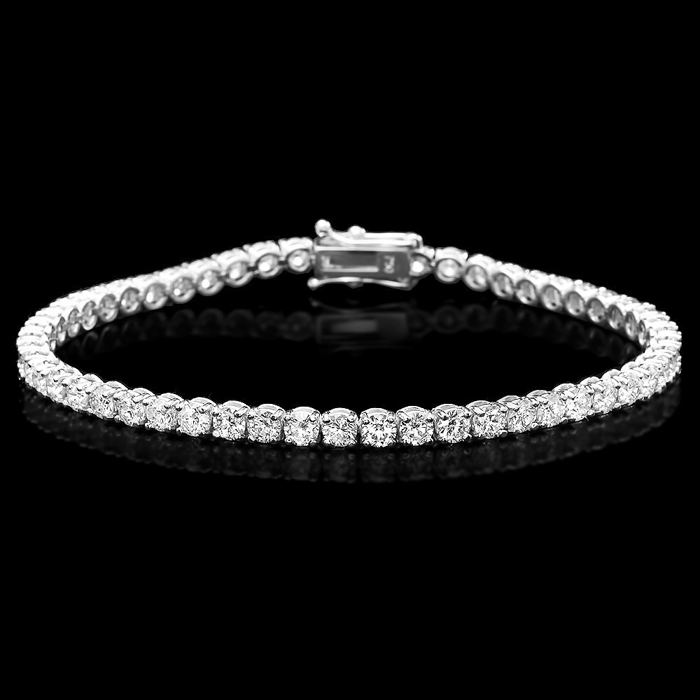 14k White Gold 6.60ct Diamond Bracelet