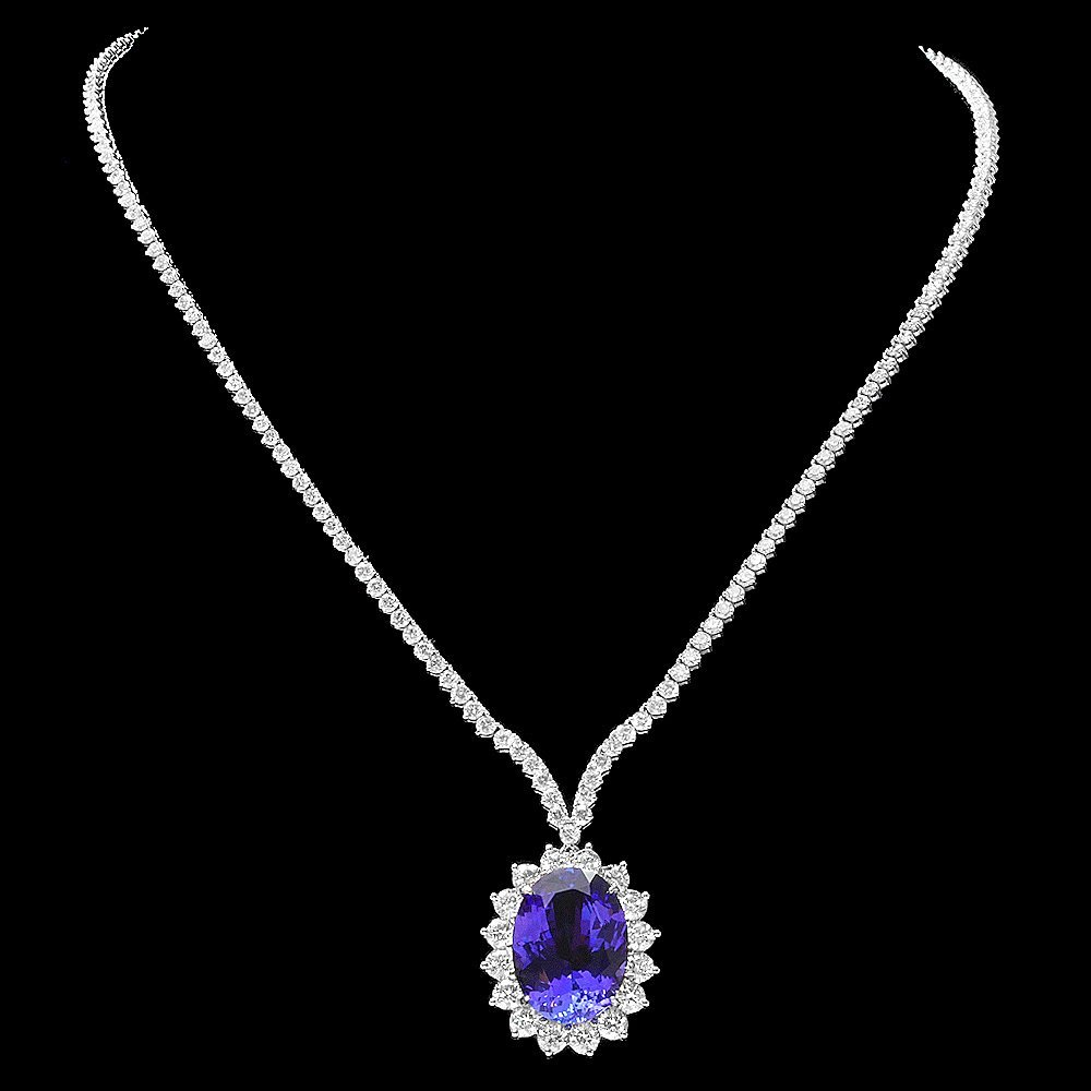 18k W Gold 18ct Tanzanite 12ct Diamond Necklace