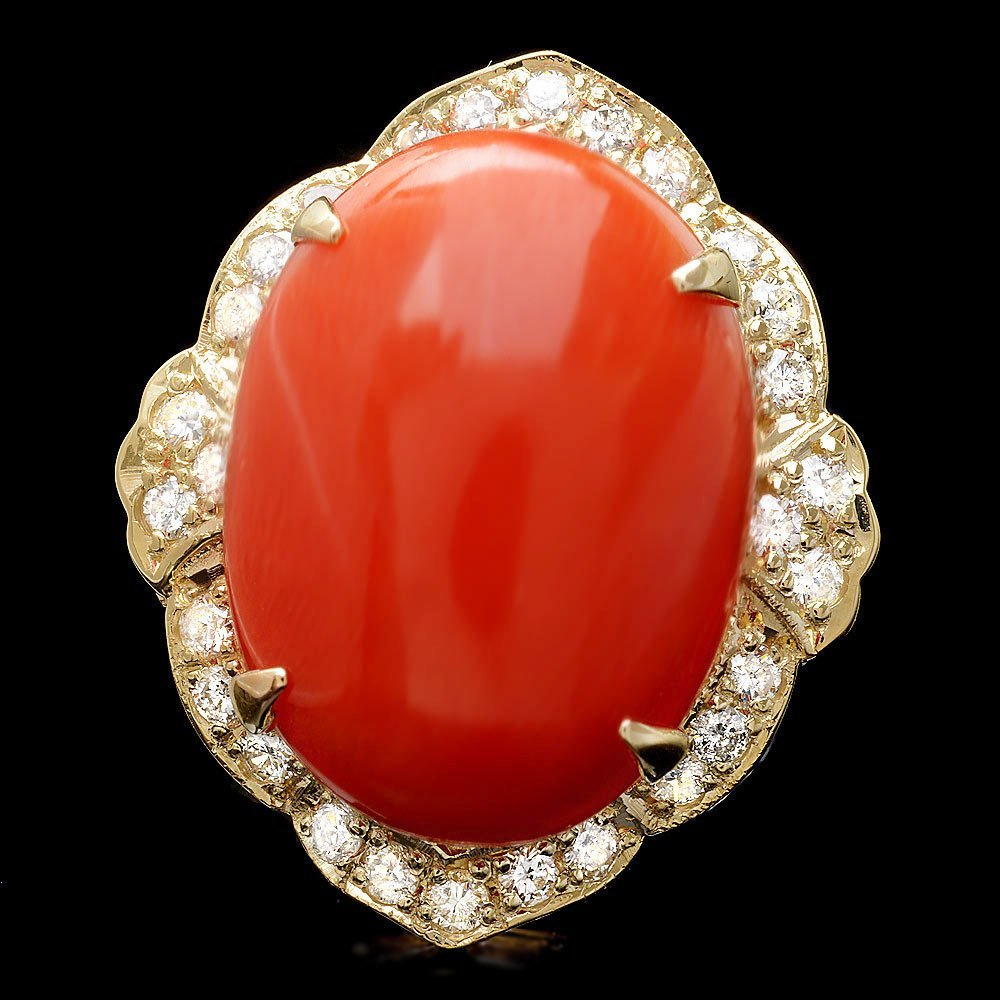 14k Yellow Gold 15.00ct Coral 0.90ct Diamond Ring