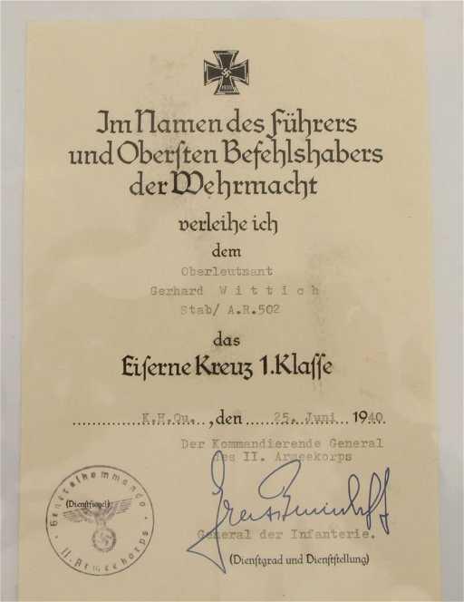 1355: Verleihungsurkunde Eisernes Kreuz I. Klasse