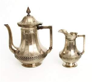 Kaffeekanne-Sahnekännchen, WMF um 1900