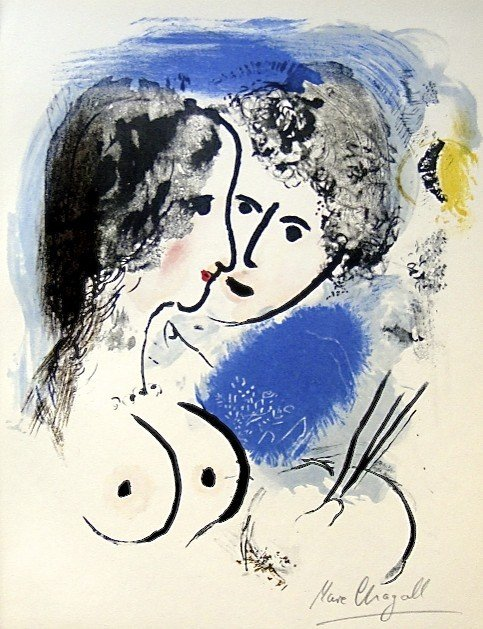 """1: Marc CHAGALL, Signed Original Lithograph, """"Les amour"""