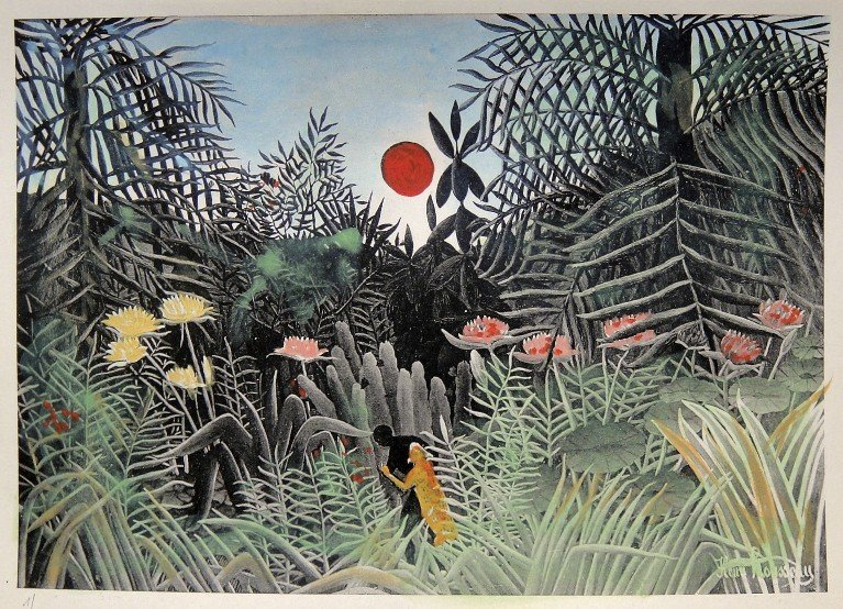 13: HENRI ROUSSEAU, hand colored and hand signed Lithog