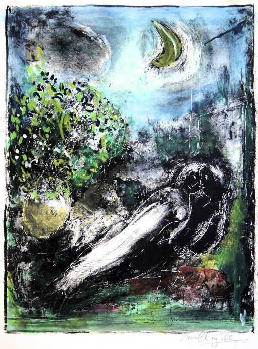 "18: Marc CHAGALL, Hand Colored Original Lithograph, ""A"