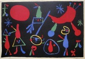 7: JOAN MIRO, Hand Signed Original Lithograph, 1954