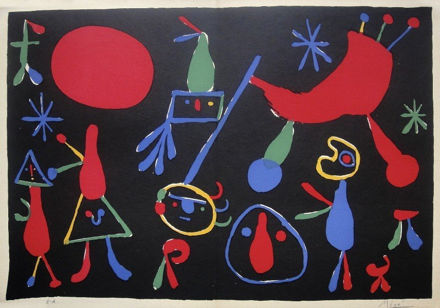 7: JOAN MIRO, Hand Signed Original Lithograph, 1954
