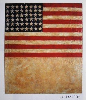 4: JASPER JOHNS, Signed Print, Flag above White